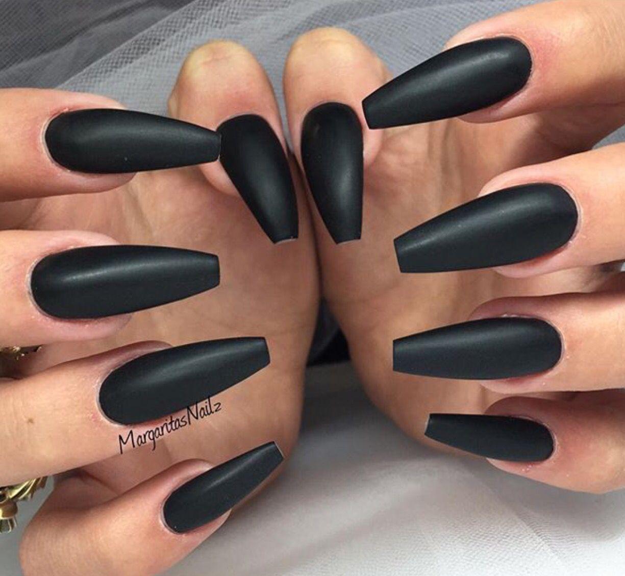 Perfectly Matte Black Nails Black Acrylic Nails Coffin Nails Matte Matte Black Nails