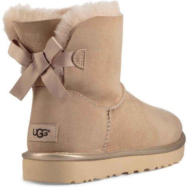 3a3745aac8a29 UGG Women s Mini Bailey Bow II Metallic Driftwood Dress Shoes (€125) ❤ liked