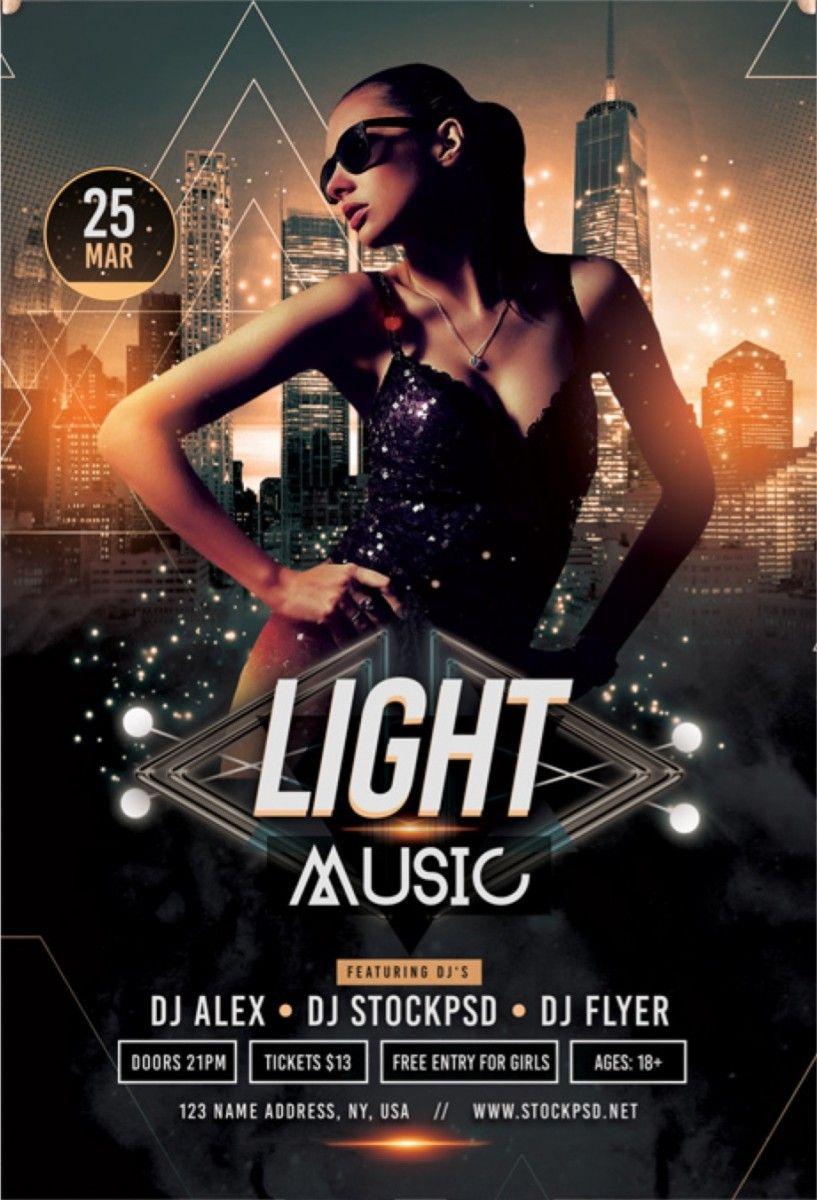 light music free psd flyer template dj flyer pinterest free