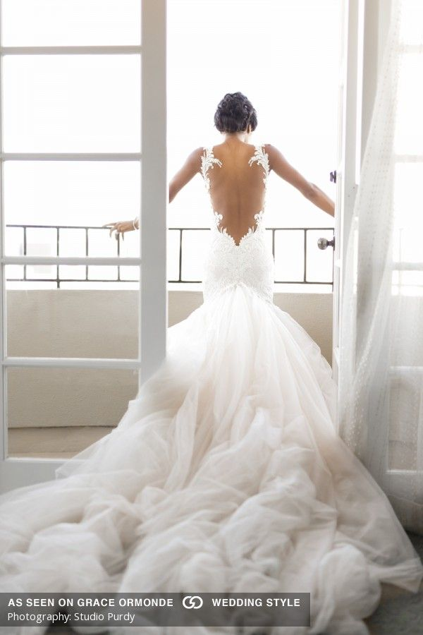 galia lahav open back wedding dress with luxurious train