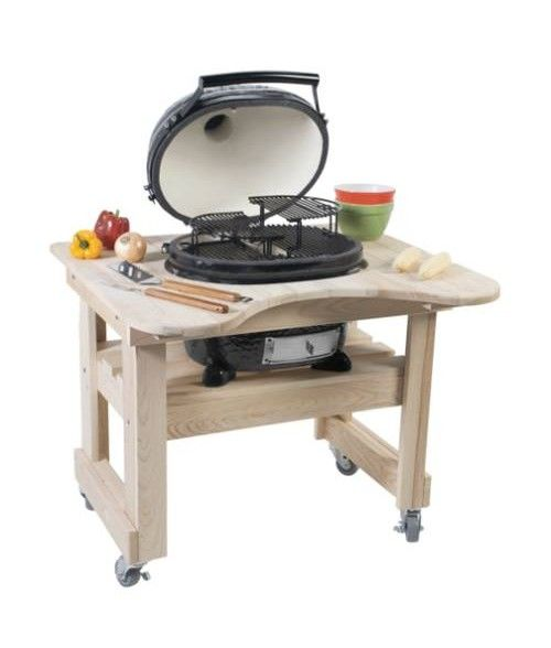 Wonderful Primo Oval Junior Kamado Grill W/ Cypress Table (210 360 Sq In)