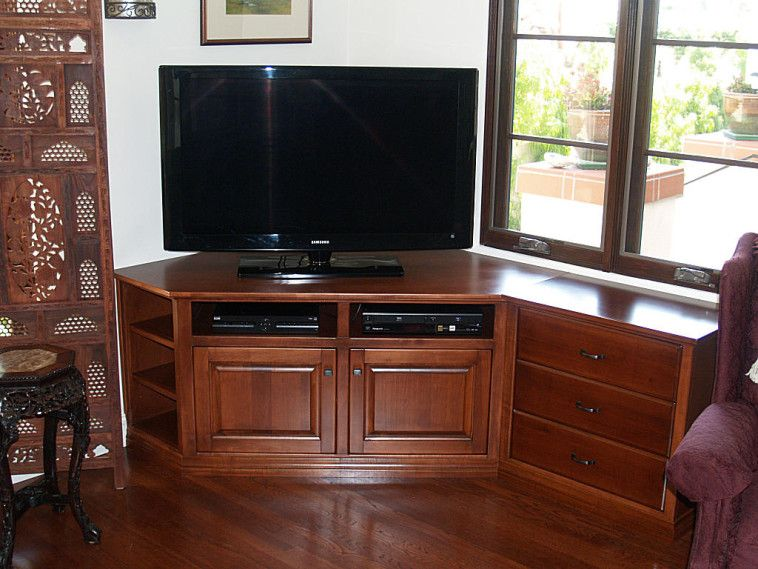 customized brown varnished oak wood media console table as well as corner tv cabinet plus tv. Black Bedroom Furniture Sets. Home Design Ideas