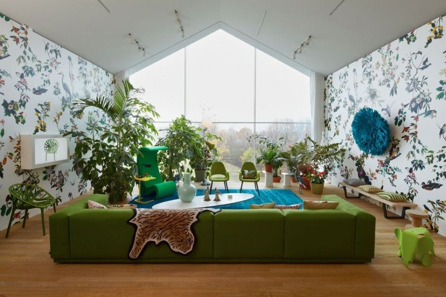 Furniture Awesome White Blue Living Room With Green Sofa As Well Floral Patterened Wallpaper Plus Indoor Plant Gives Fresh Nuance Attractive