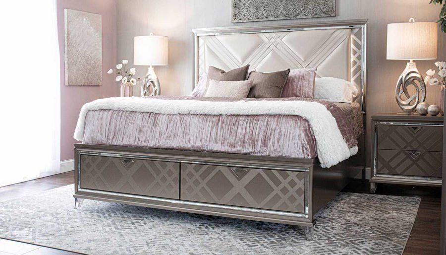 Kendall 3 Piece King Bed Dresser Mirror Nightstand King Beds Headboard Cover Bed