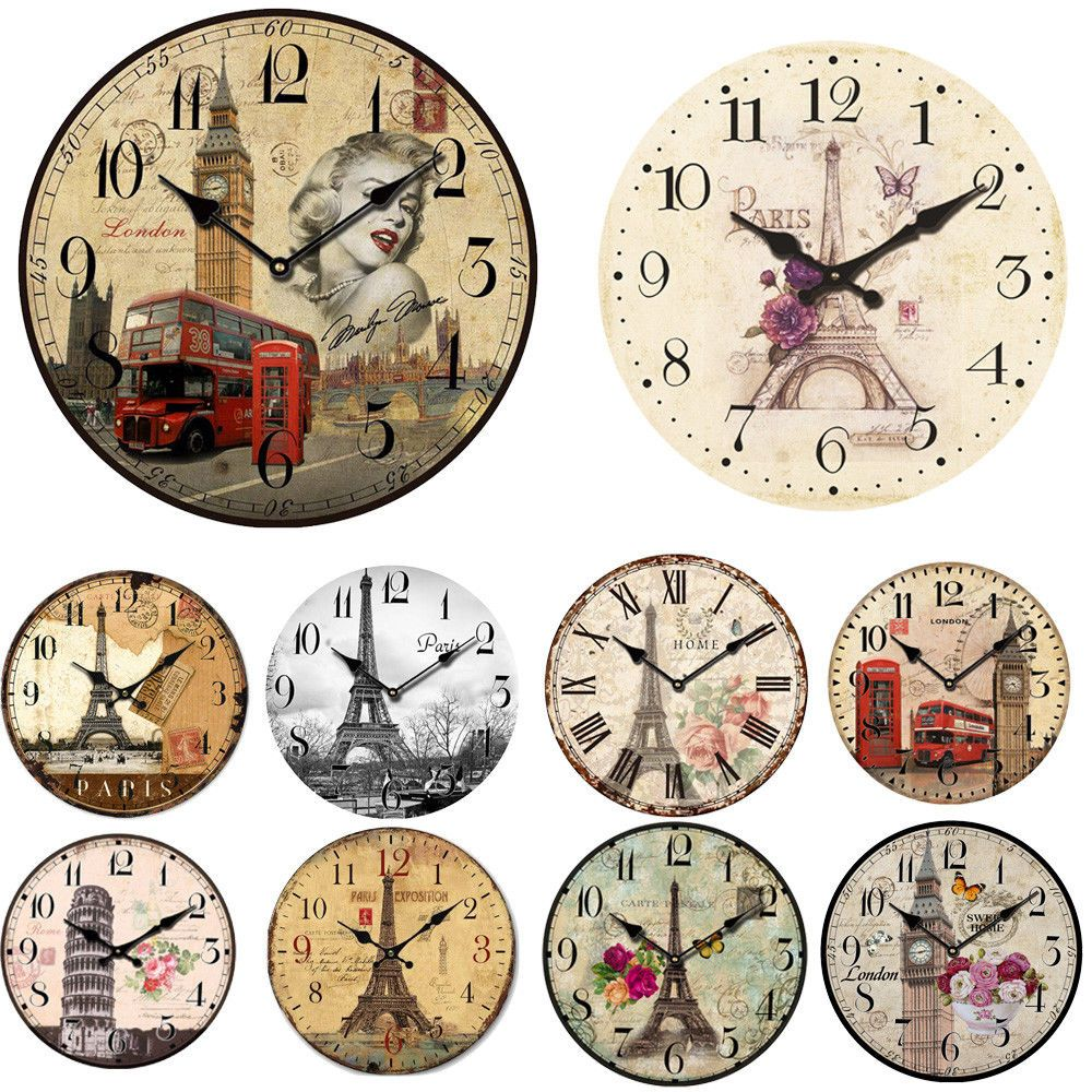 $2.79 - Vintage Rustic Wooden Wall Clock Antique Shabby Chic Retro ...
