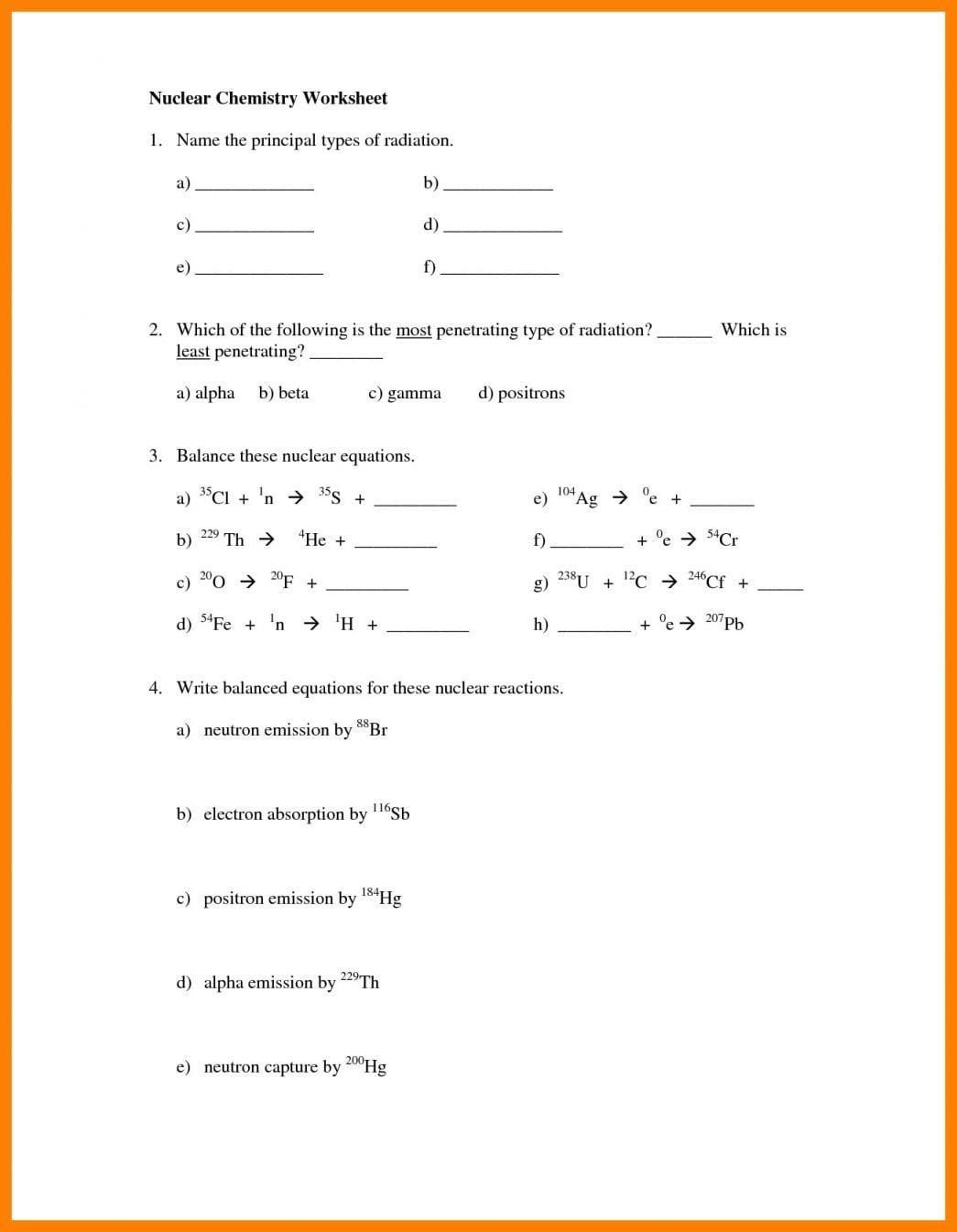 Balancing Nuclear Equations Worksheet Answers Worksheet Radioactive Decay In 2020 Chemistry Worksheets Text Features Worksheet Relationship Worksheets