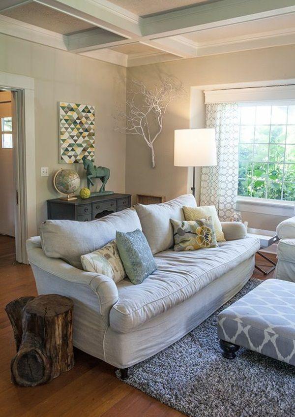 ländlich stil wohnzimmer sofa kissen zweige natur inspiriert - wohnzimmer ideen natur