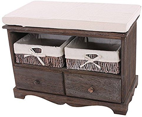 Sitzbank Kommode mit 2 Körben 42x62x33cm, Shabby-Look, Vintage - kommode für küche