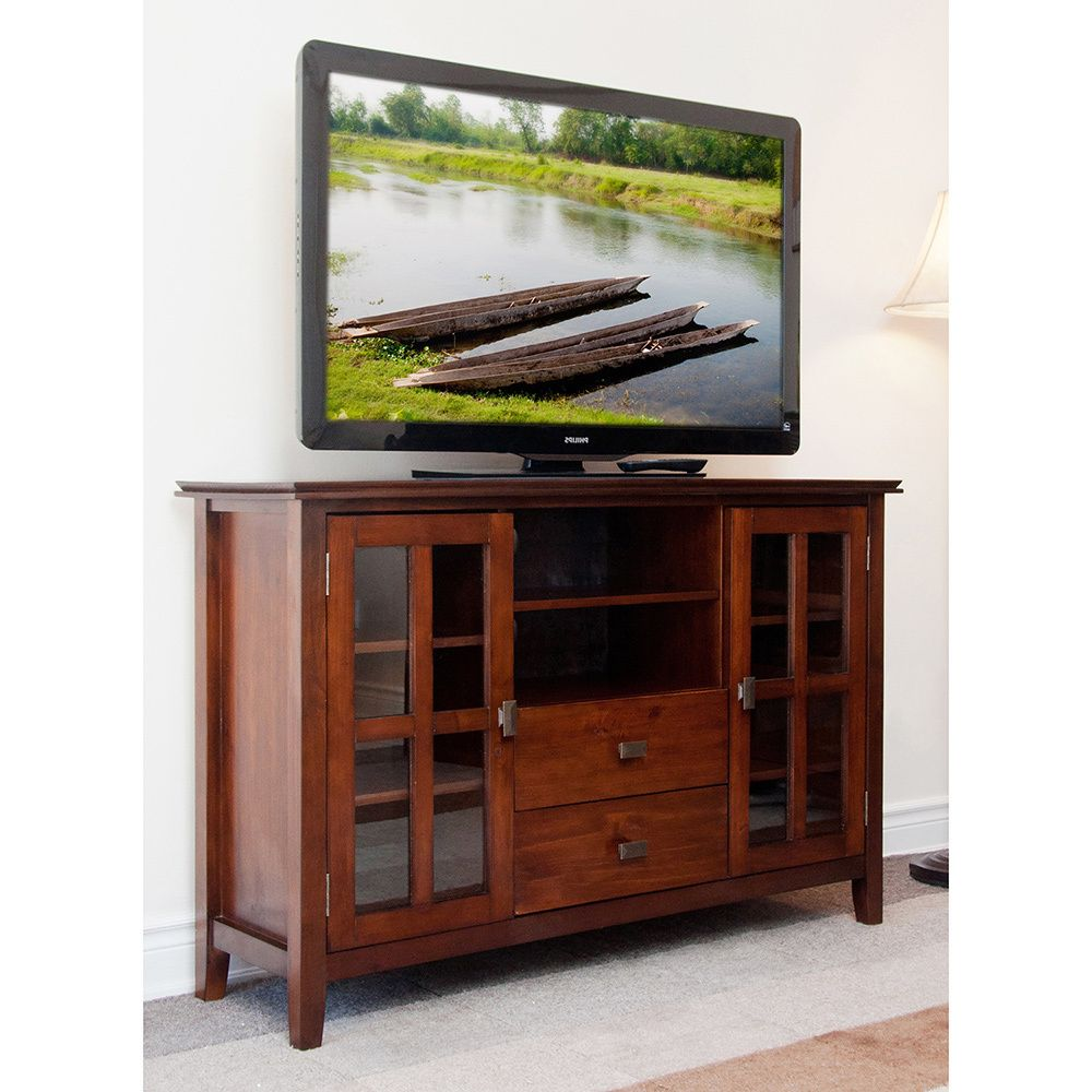 Wyndenhall Stratford Solid Wood 53 Inch Wide Contemporary Tv Media Stand For Tvs Up To 55 Inches 53 Inch Wide Tall Tv Stands Modern Furniture Living Room Tv Media Stands