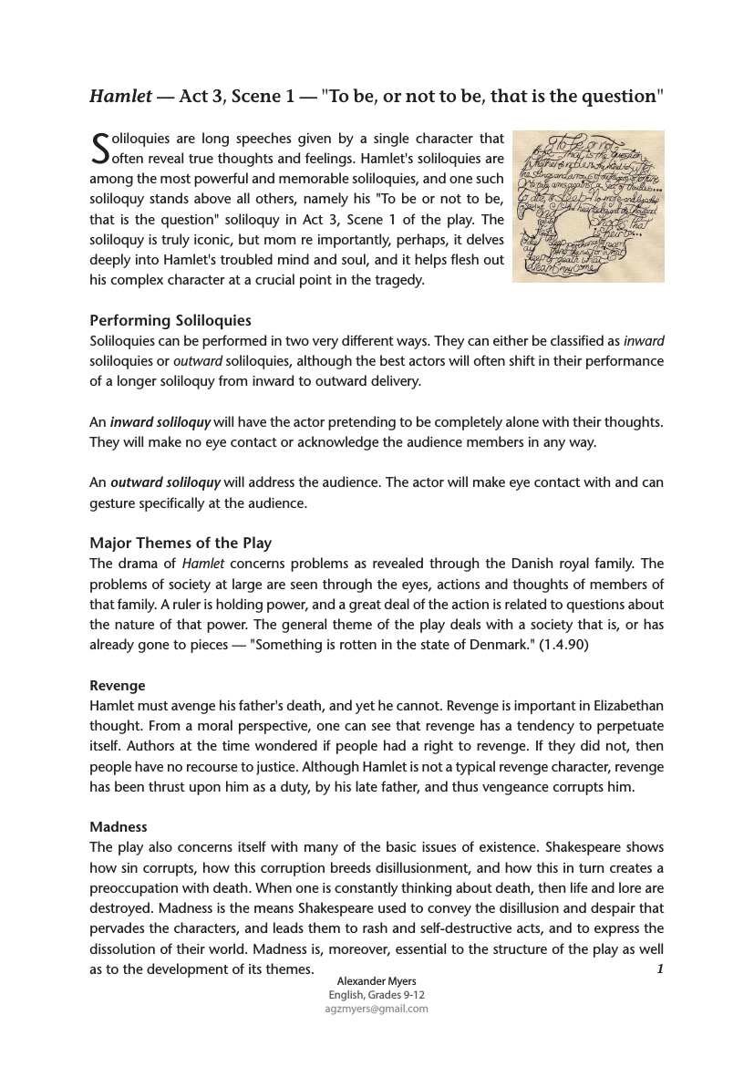 Hamlet Shakespeare Complete Advanced Activity Pack Soliloquy To Be Or Not Summary Sparknote Hamlet'