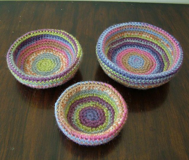Multicoloured Crochet Nest of Bowls by Elvira Jane Q, via Flickr