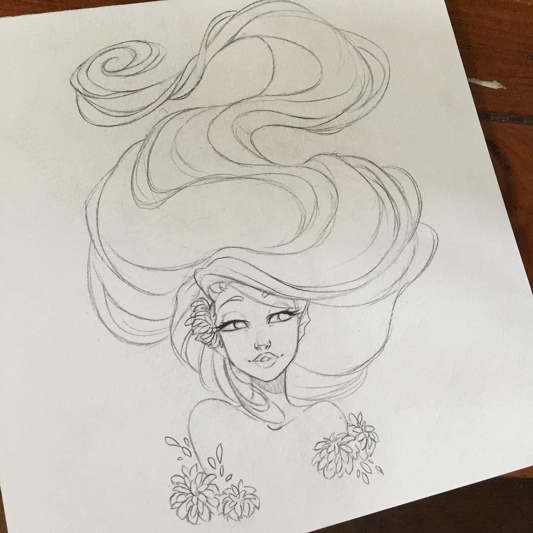 mermaid sketch drawing illustration on Instagram