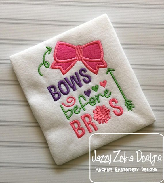 Bows Before Bros Saying Appliqu Embroidery Design Cheer Onesie