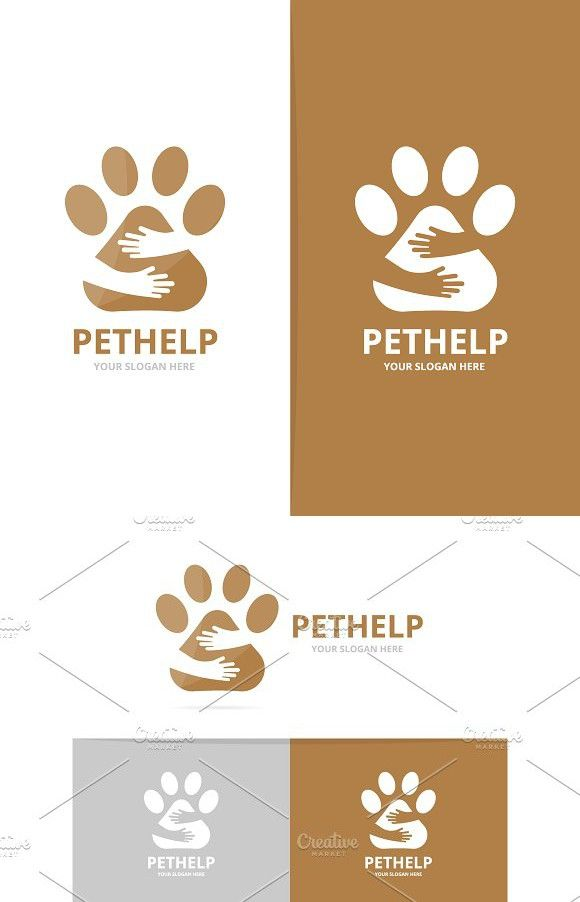 Vector Paw And Hands Logo Combination Pet And Embrace Symbol Or
