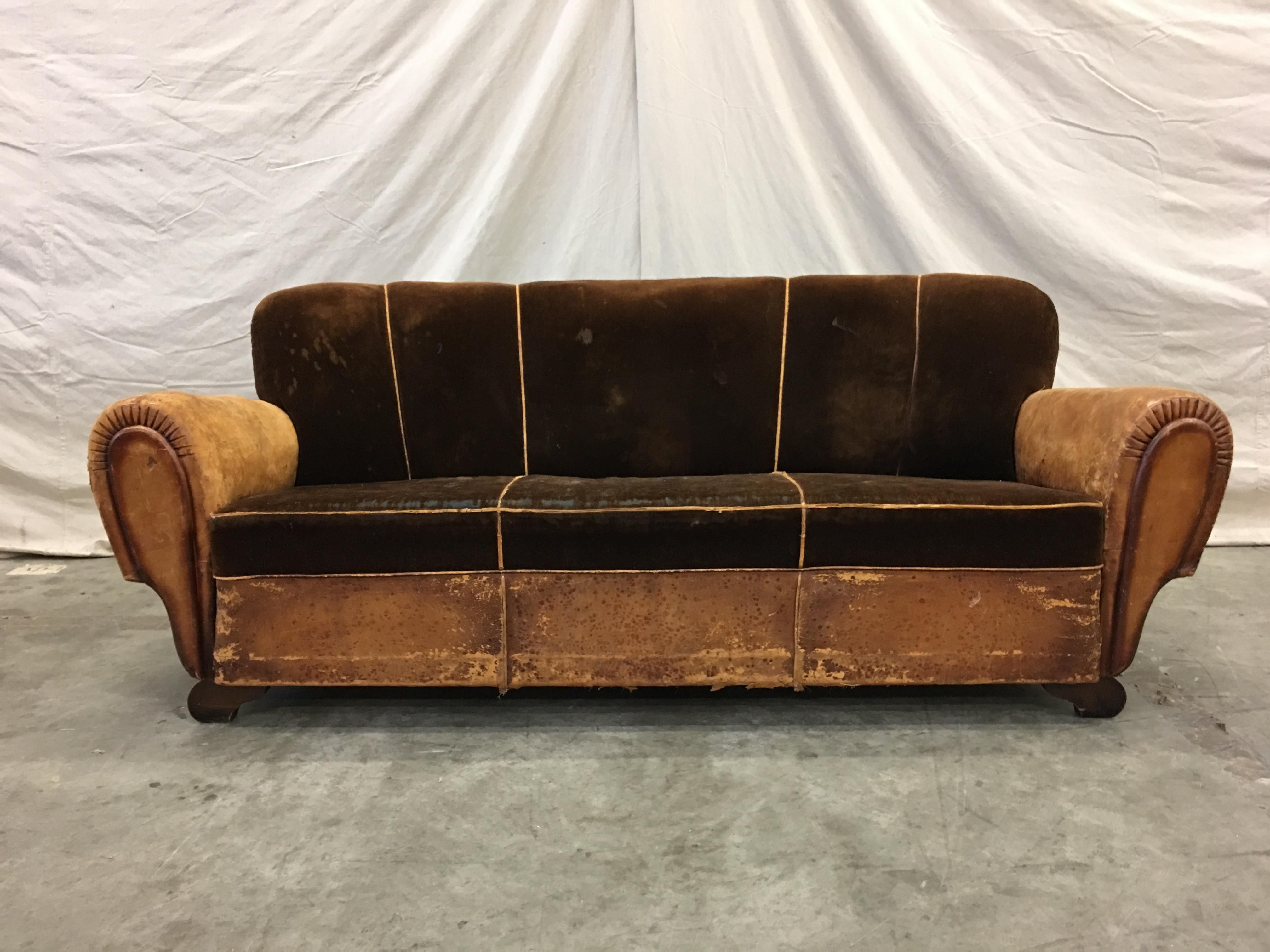 Wondrous 1930S French Art Deco Leather And Mohair Sofa And Armchair Gmtry Best Dining Table And Chair Ideas Images Gmtryco