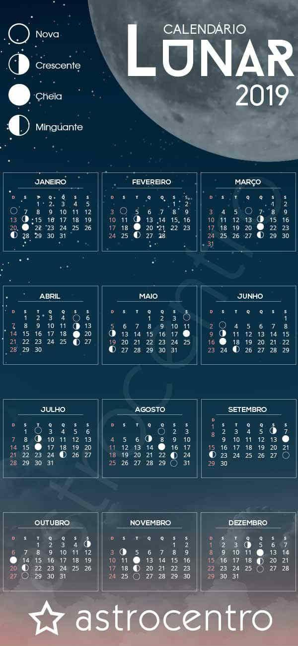 Calendario Lunar 2019 Calendario Lunar Calendario Das Luas Calendario Lua