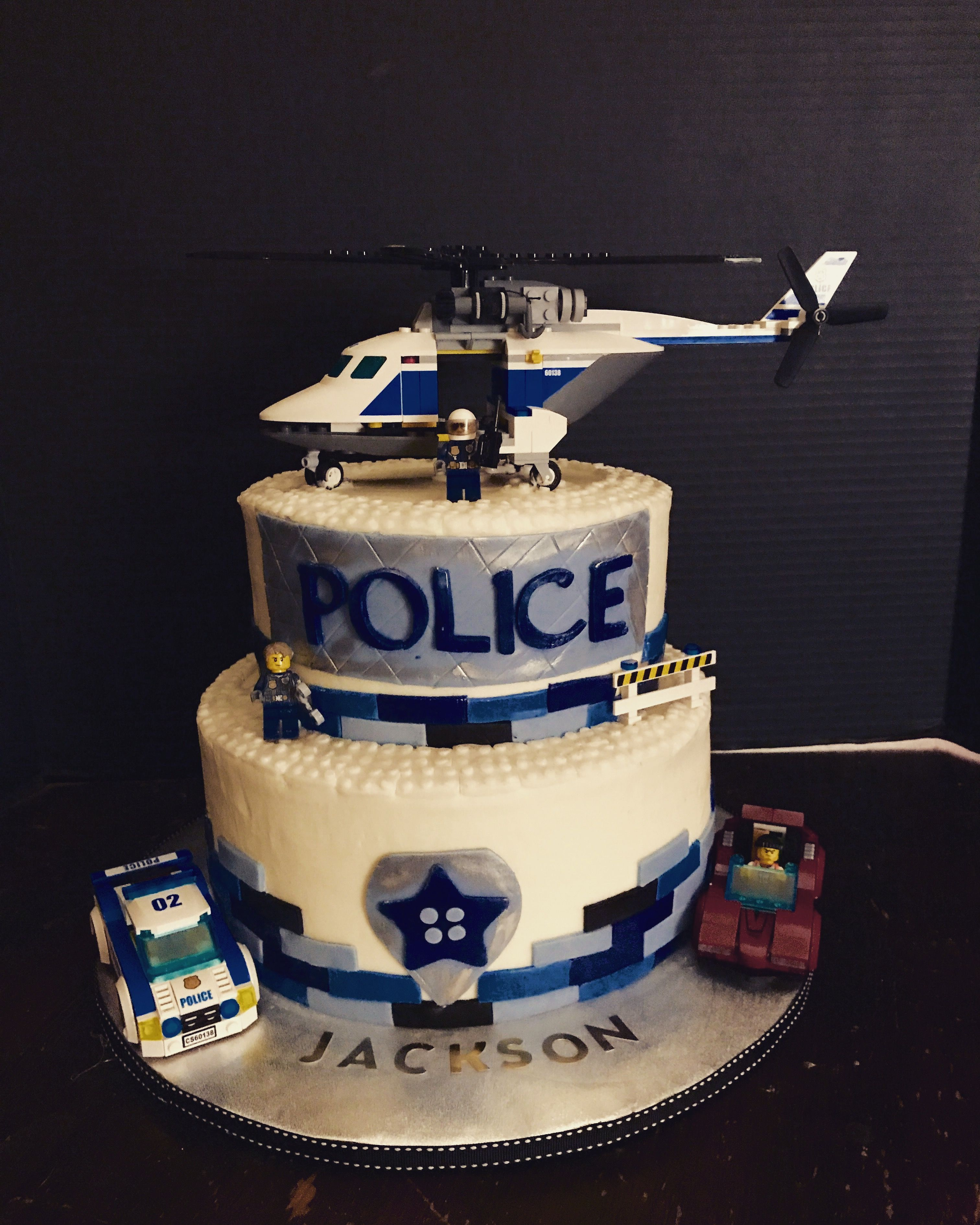 Lego Police Themed Happy Birthday Cake