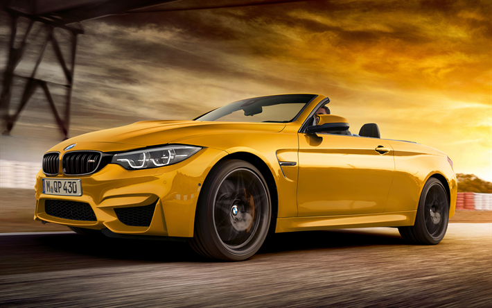 Download wallpapers BMW M4 Convertible, 30 Jahre Edition, 2018, 4k, yellow cabri…