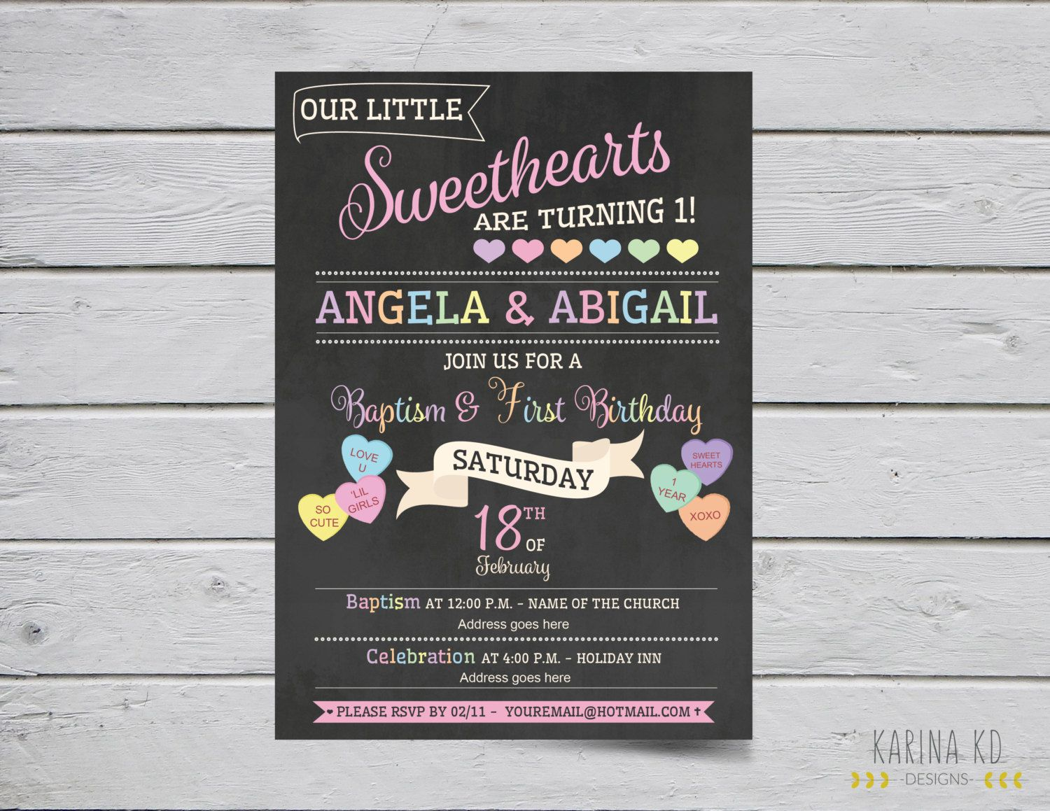 Sweetheart Conversation Heart 5x7 invitation and Circle