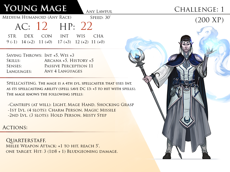 Mage, Young by Almega-3 | Homebrew 5e Monsters | Monster