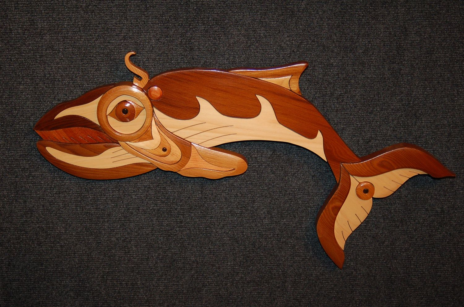 Native american blue whale intarsia art carving craft