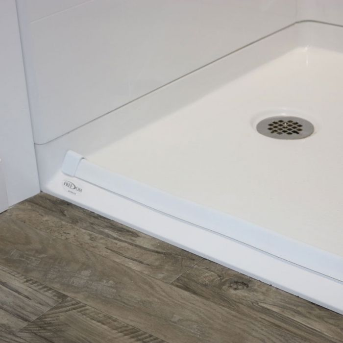 Barrier Free Shower Pan With A Collapsible Water Retainer. 60 X 33.375  Inches Freedom Accessible Showers, Left Drain