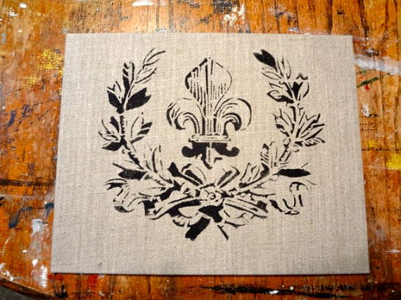 Stenciled linen 8 by 10 panel ready for by HeartVintageDesign