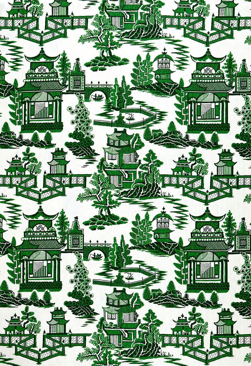 Weave medley light green fabric 6 yards contemporary drapery fabric - Schumacher Chinoiserie Pagoda Toile Linen Fabric 10 Yards Green Ebay