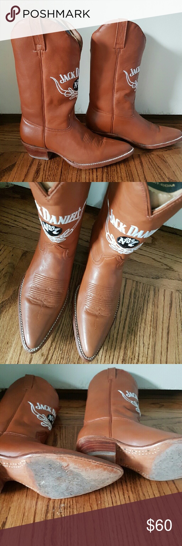 Jack Daniels Brown Cowboy Boots I wore these boots two times. I love them but they fit too tight on the top of my foot. Jack Daniels Shoes Heeled Boots