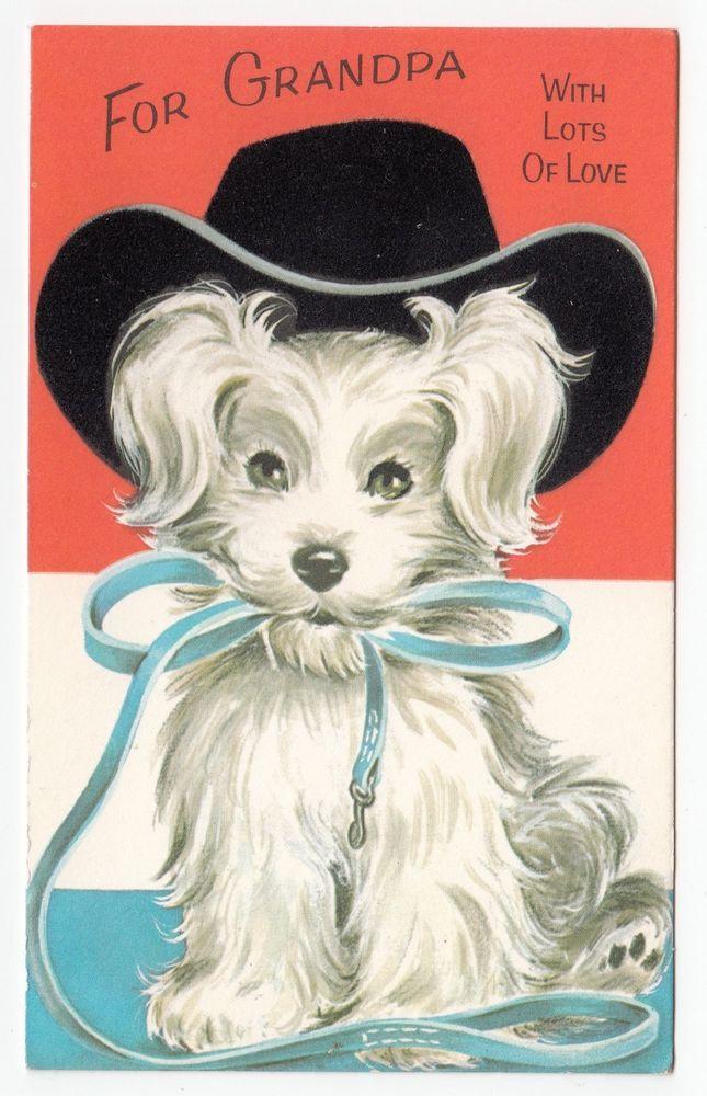 Vintage Greeting Card Dog Puppy Black Flocked Cowboy Western Hat Gibson