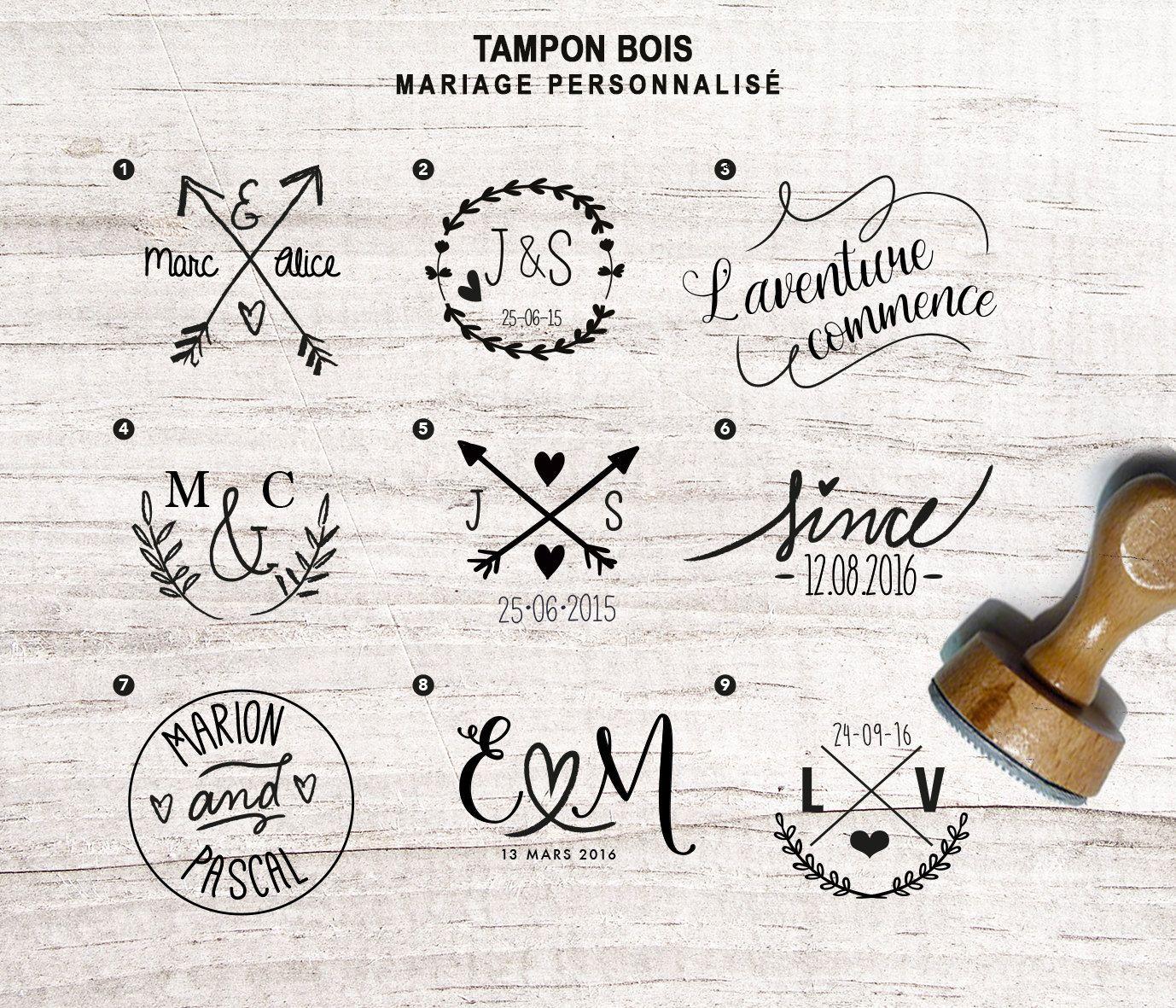 Bien-aimé Tampon bois personnalisé mariage de la boutique latelierinspire  JJ71