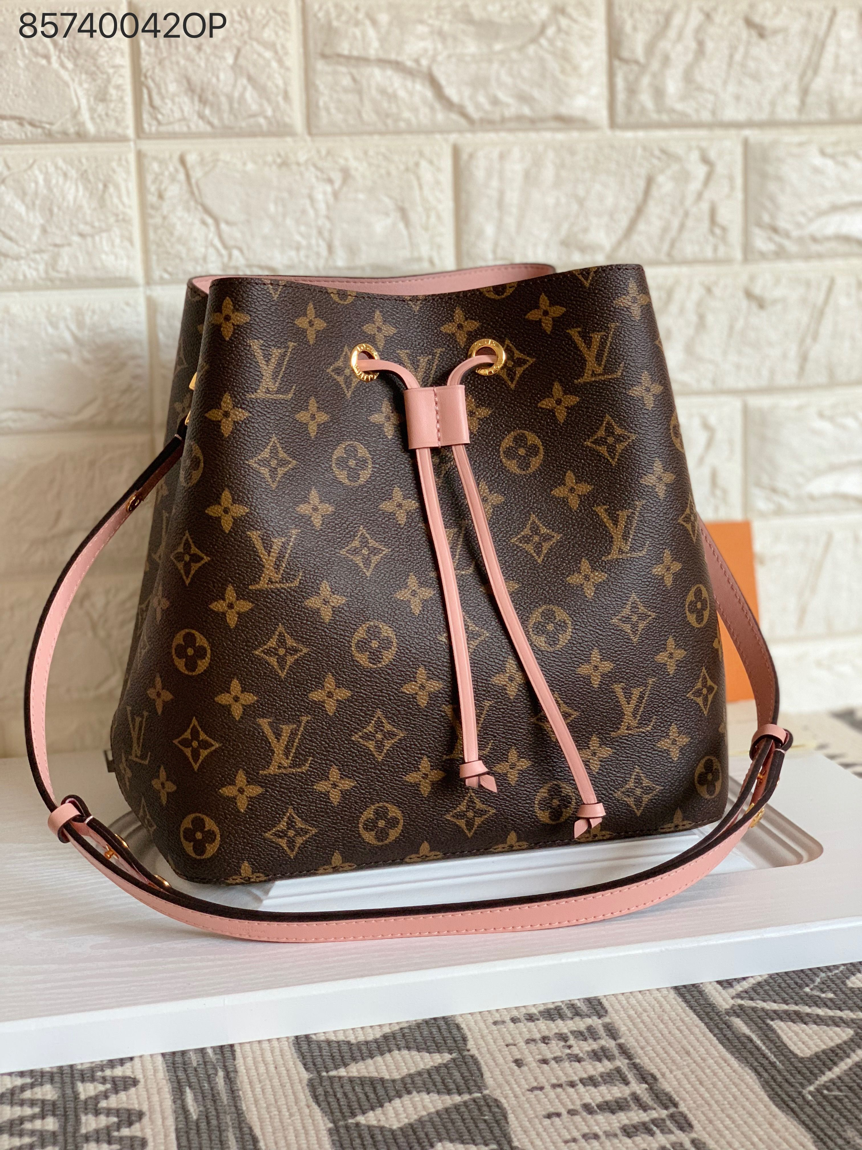 b04bb65bc075 Louis Vuitton lv neonoe bucket bag monogram with pink strap shoulder bags