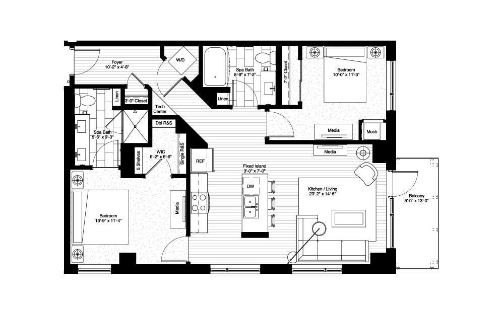 Pepin 2 Bedroom Floorplan Layout With 2 Baths And 1048 Square Feet Floor Plans Narrow Lot House Plans Tiny House Plans