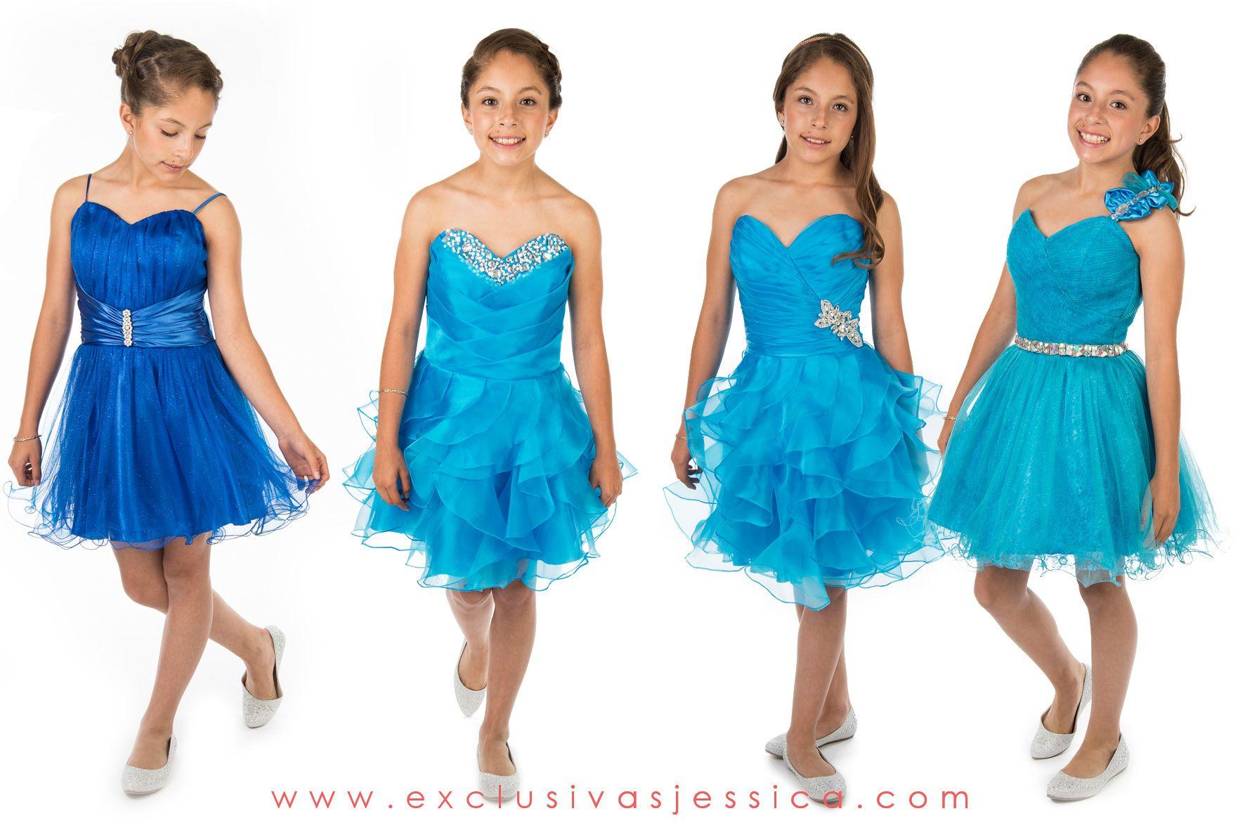 Vestidos cortos color azul celeste