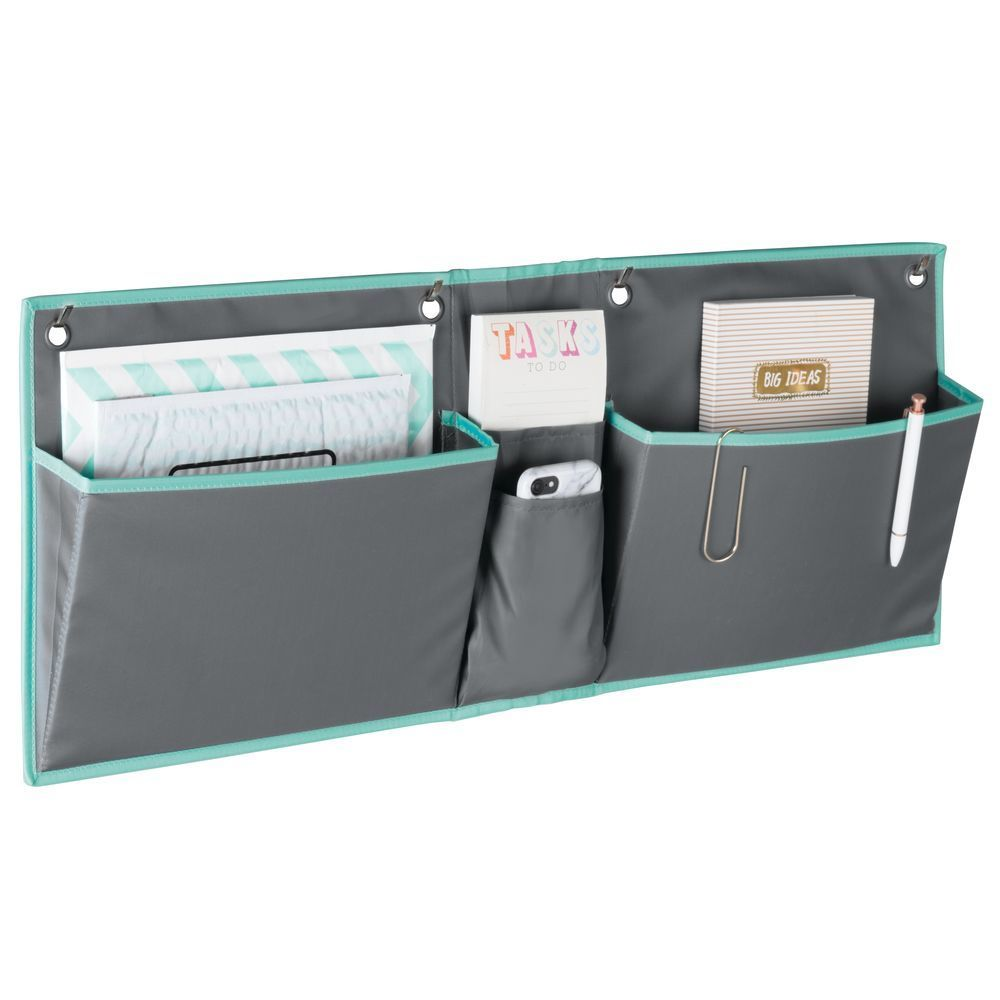 Wide Cubicle Fabric Hanging Home Office Desk Organizer Gray Teal