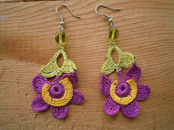 flower earrings crochet purple yellow green dangle di PashaBodrum