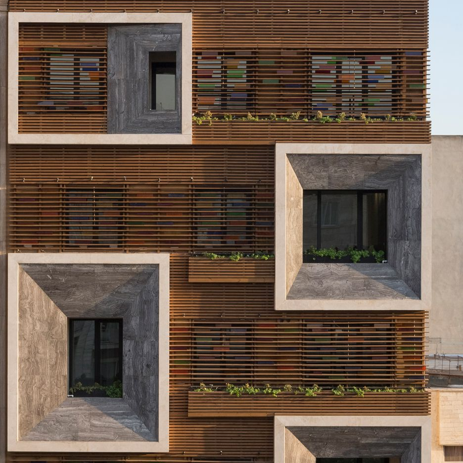 Tehran Apartment Block By Keivani Architects Features Faceted - Building architectural windows