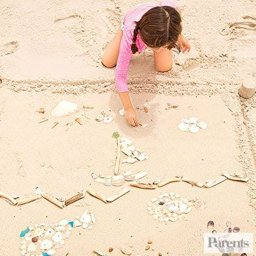 """Have your child collect shells, driftwood, stones, and sea glass. Once she's amassed a trove of supplies, suggest she use her finds to """"draw"""" a picture in the sand."""