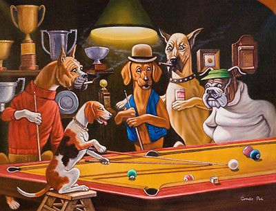 4 Unframed Comical Print Of Dogs Playing Pool By Arthur Sarnoff Dogs Playing Pool Pool Drawing Pool Art