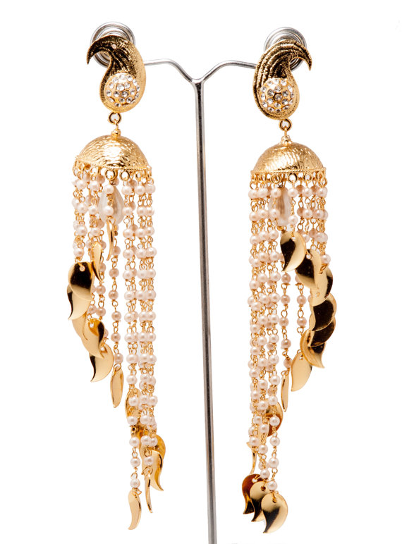 Gold Jhumkas Cascade Jhumka Pearl Earrings Long Ethnic Dome Earring Bridal Jewelry