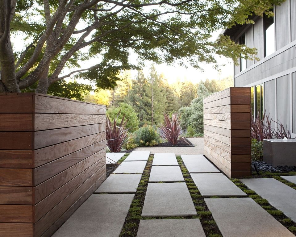 Contemporary Landscape/Yard With Fountain, Pathway, Exterior Tile Floors