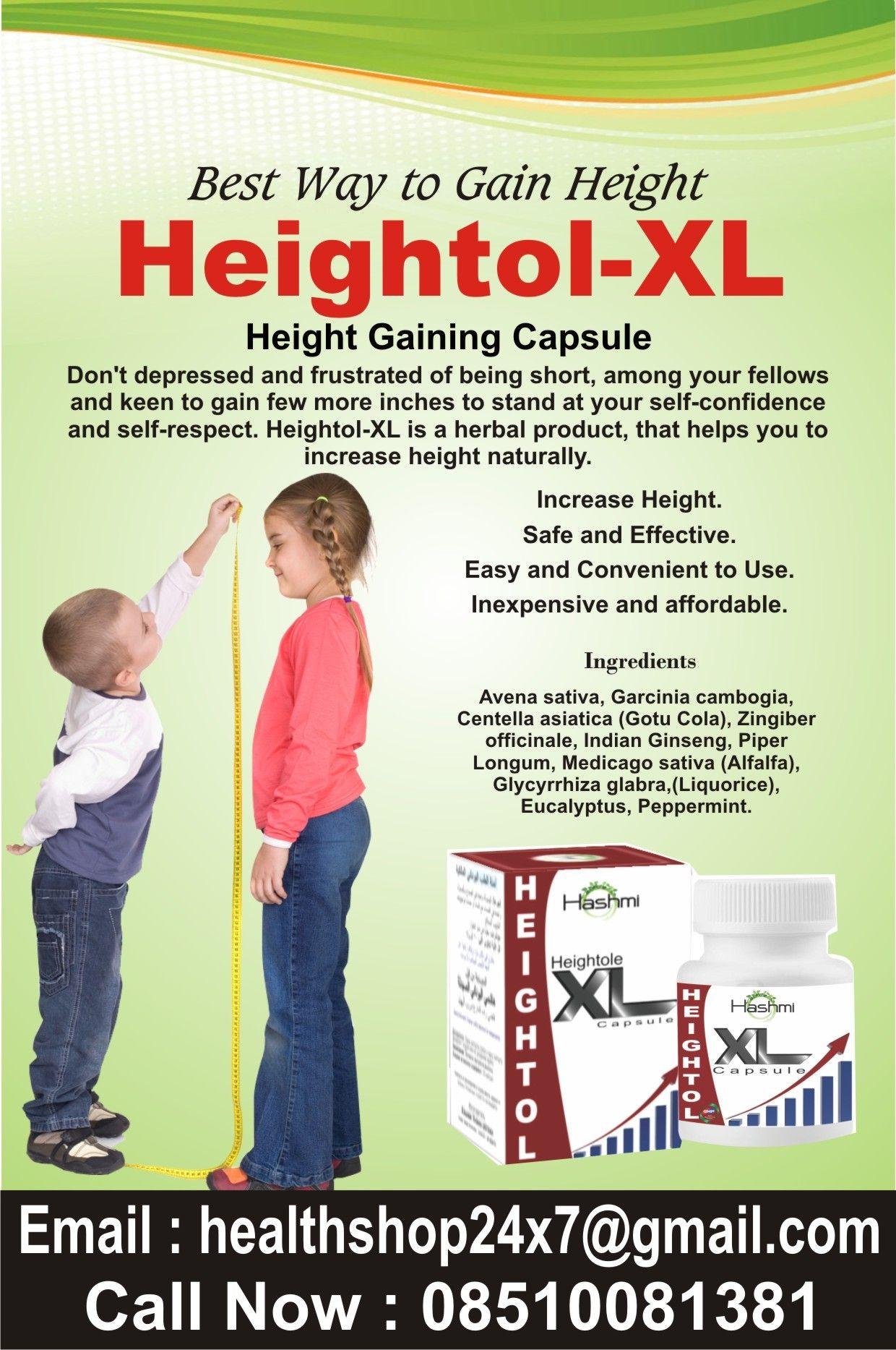 Heightol-XL Capsule Gain Height. Increase Energy. Improves metabolism.  Improves Natural Growth