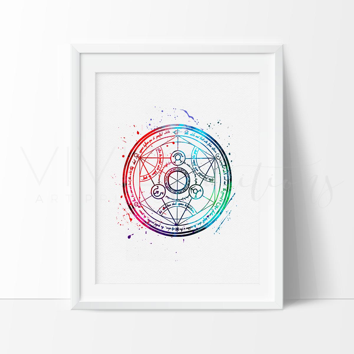 Fullmetal Alchemist Transmutation Circle Watercolor Art Print Fullmetal Alchemist Alchemist Transmutation Circle