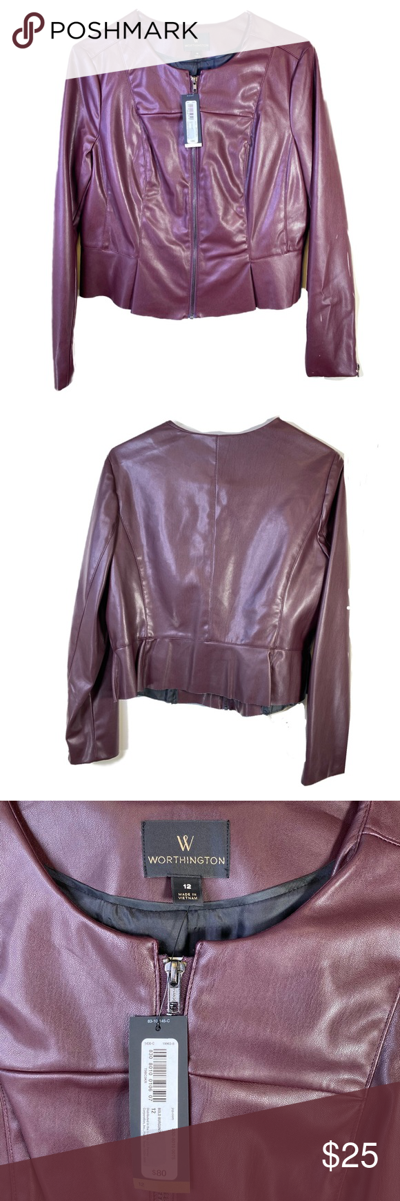 Maje burgundy leather biker jacket Clothes design