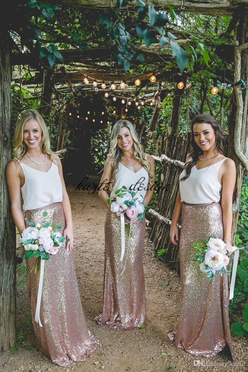 52c471cd5f2 Two Pieces Long Country Bohemian Bridesmaid Dresses 2018 Modest Rose Gold  Champagne Sequins Cheap Women Wedding Party Guest Dress