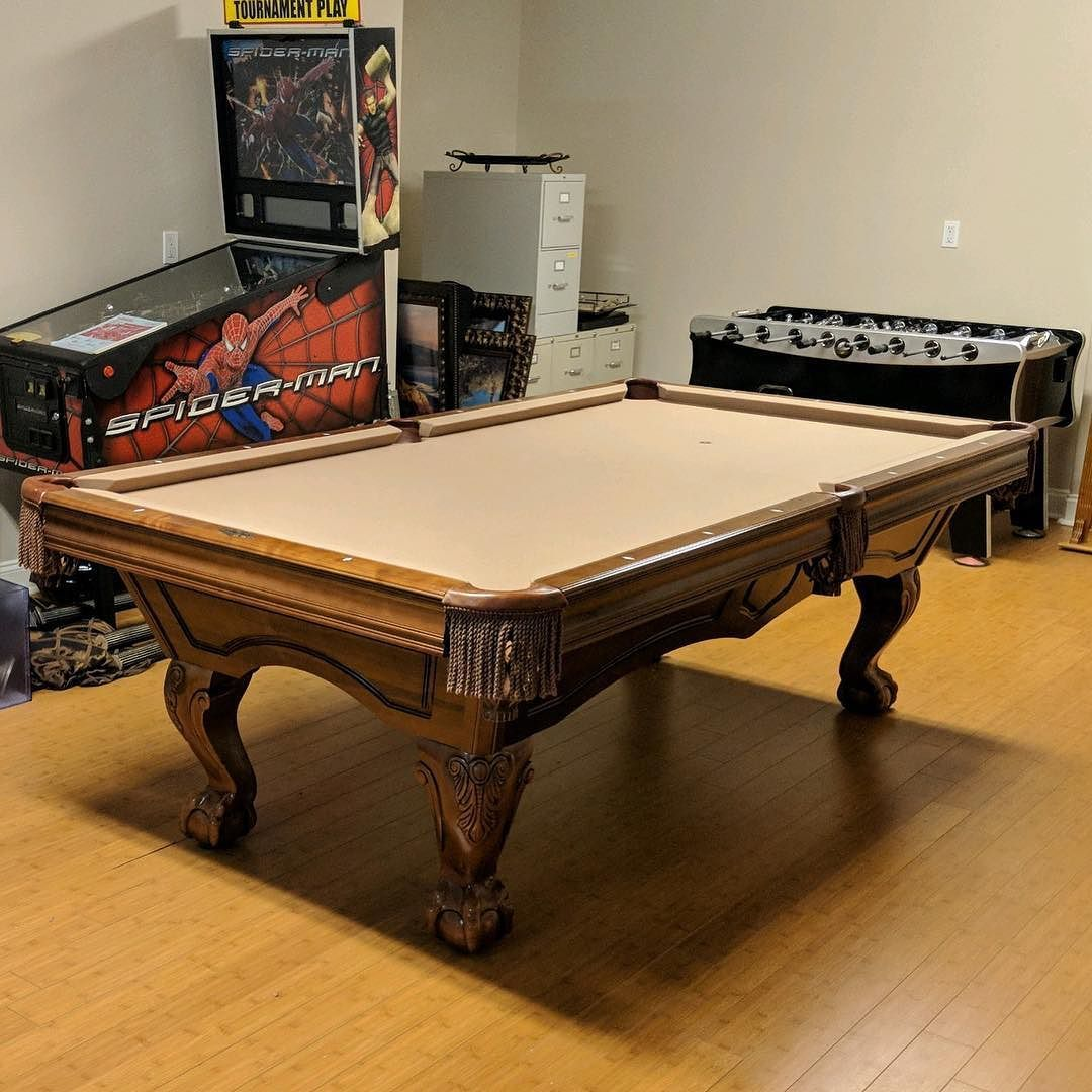 Nice Finished Installing This 8ft Avalon Pool Table By Brunswick Billiards Circa  2001. The Garage Floor Was Very Badly Out Of Level But We Were Able To Level  It ...