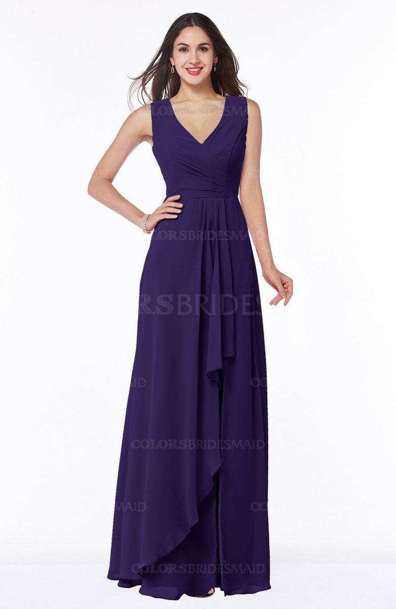 Royal Purple Glamorous A-line Sleeveless Zipper Chiffon Floor Length ...