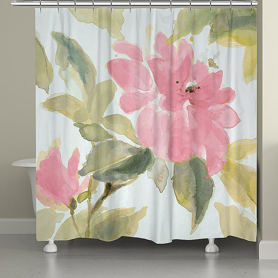 Laural Home Pink Blooms Shower Curtain Laural Home Pink Shower