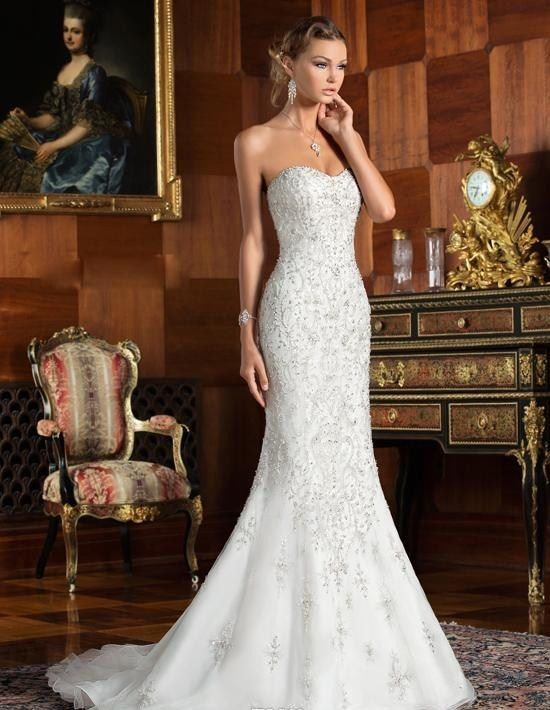 Details About Bling Strapless Formal Mermaid Lace Wedding
