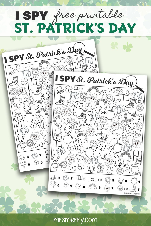 I Spy Saint Patrick's Day Free Printable - Free Kids Activities -Mrs. Merry    Free activities for kids [ 1500 x 1000 Pixel ]